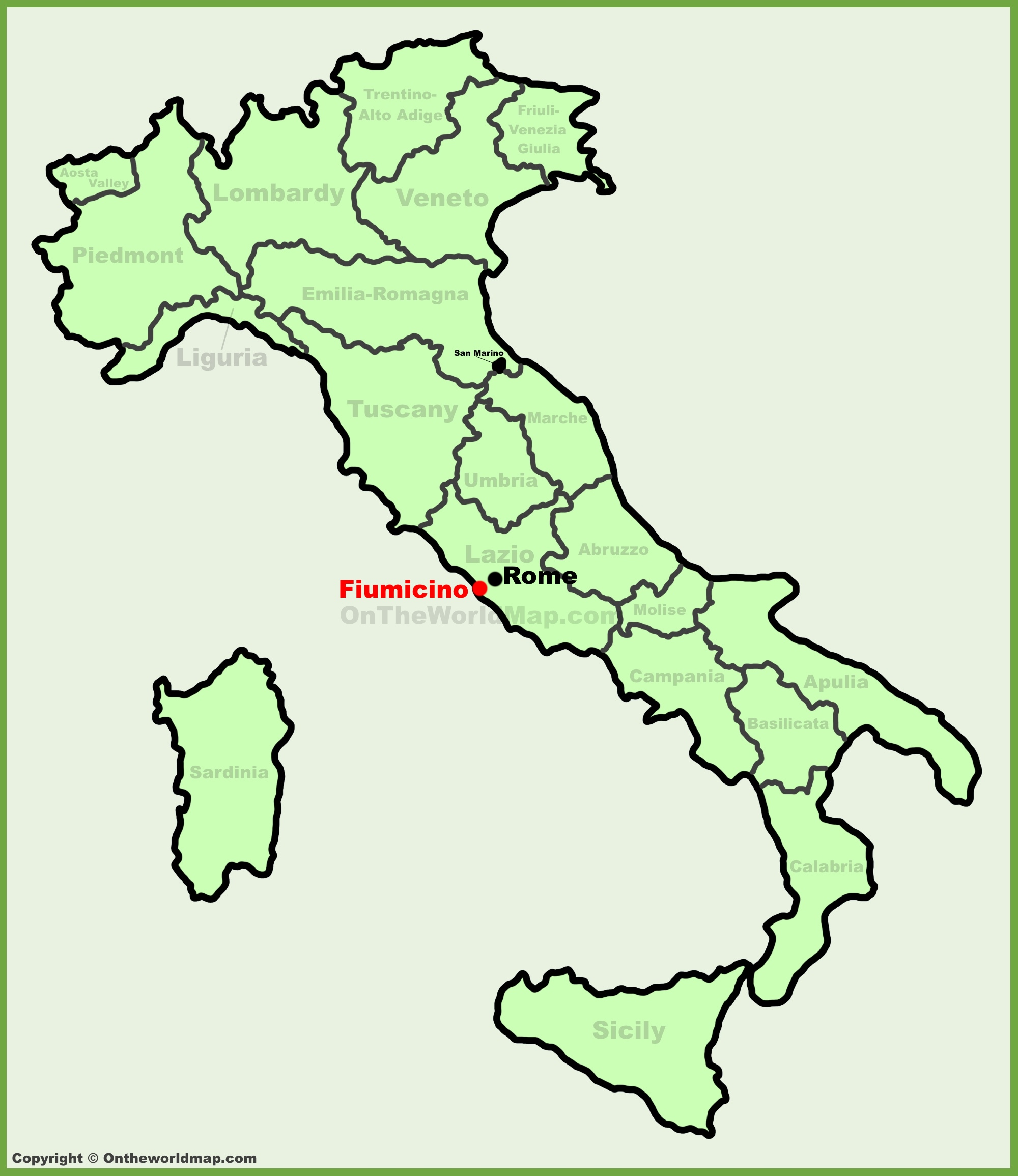 Fiumicino location on the Italy map