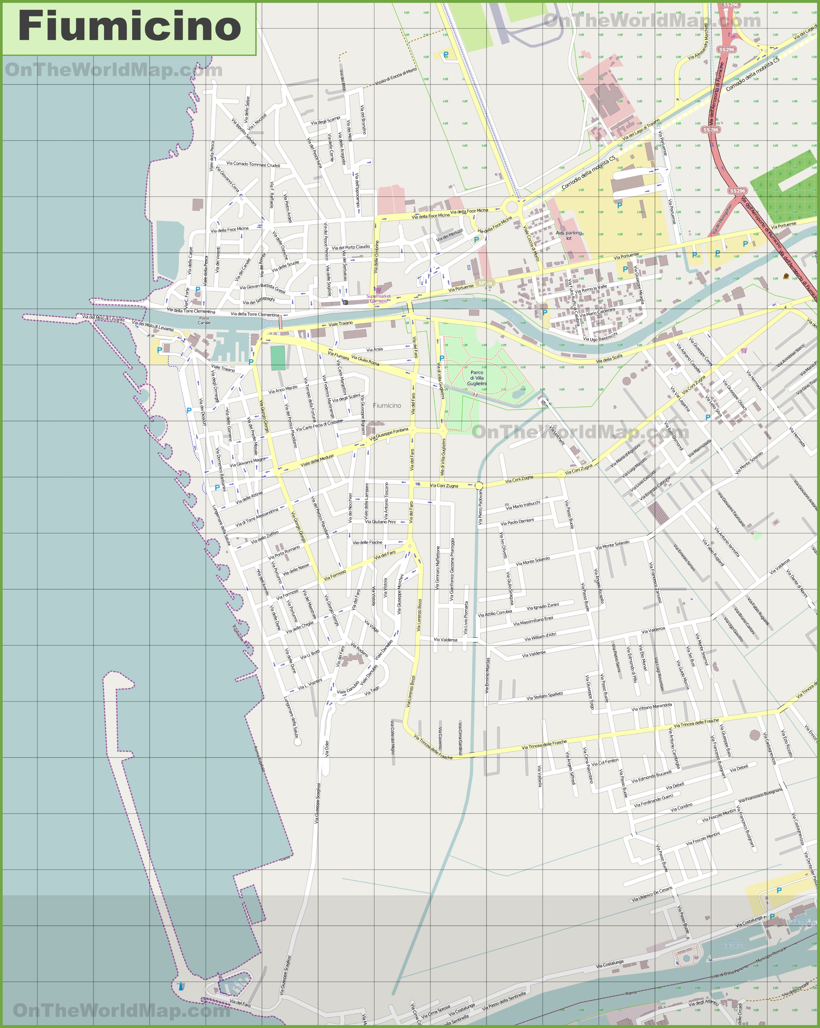 Large detailed map of Fiumicino
