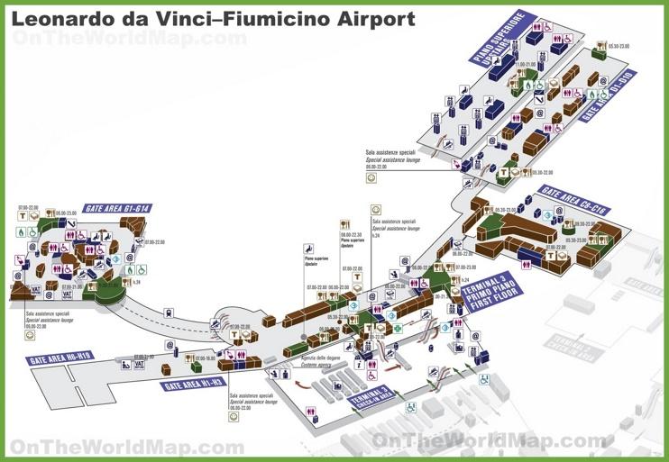 Leonardo da Vinci–Fiumicino Airport map