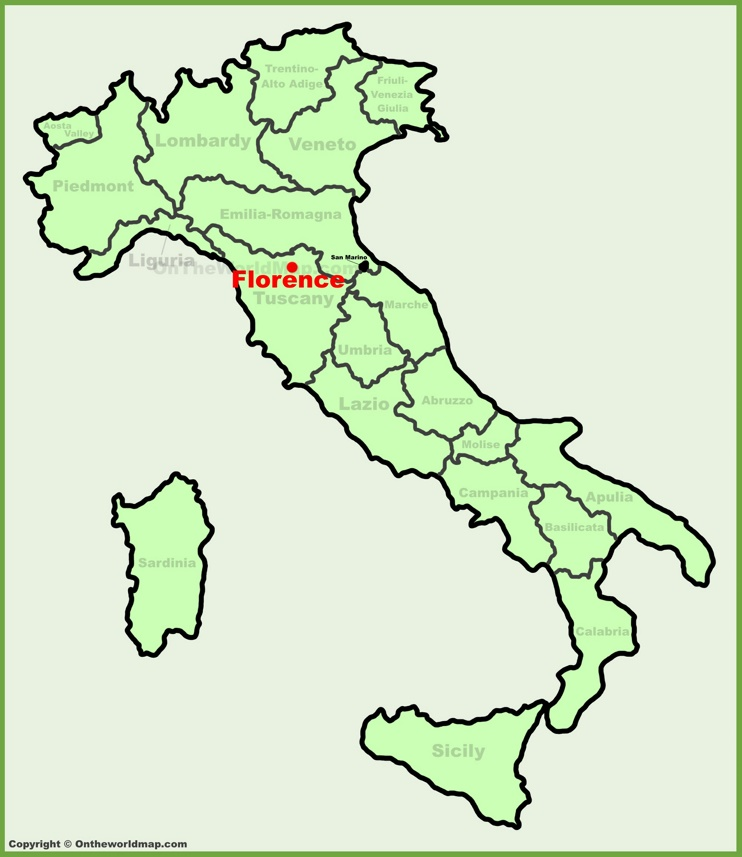 Florence location on the Italy map
