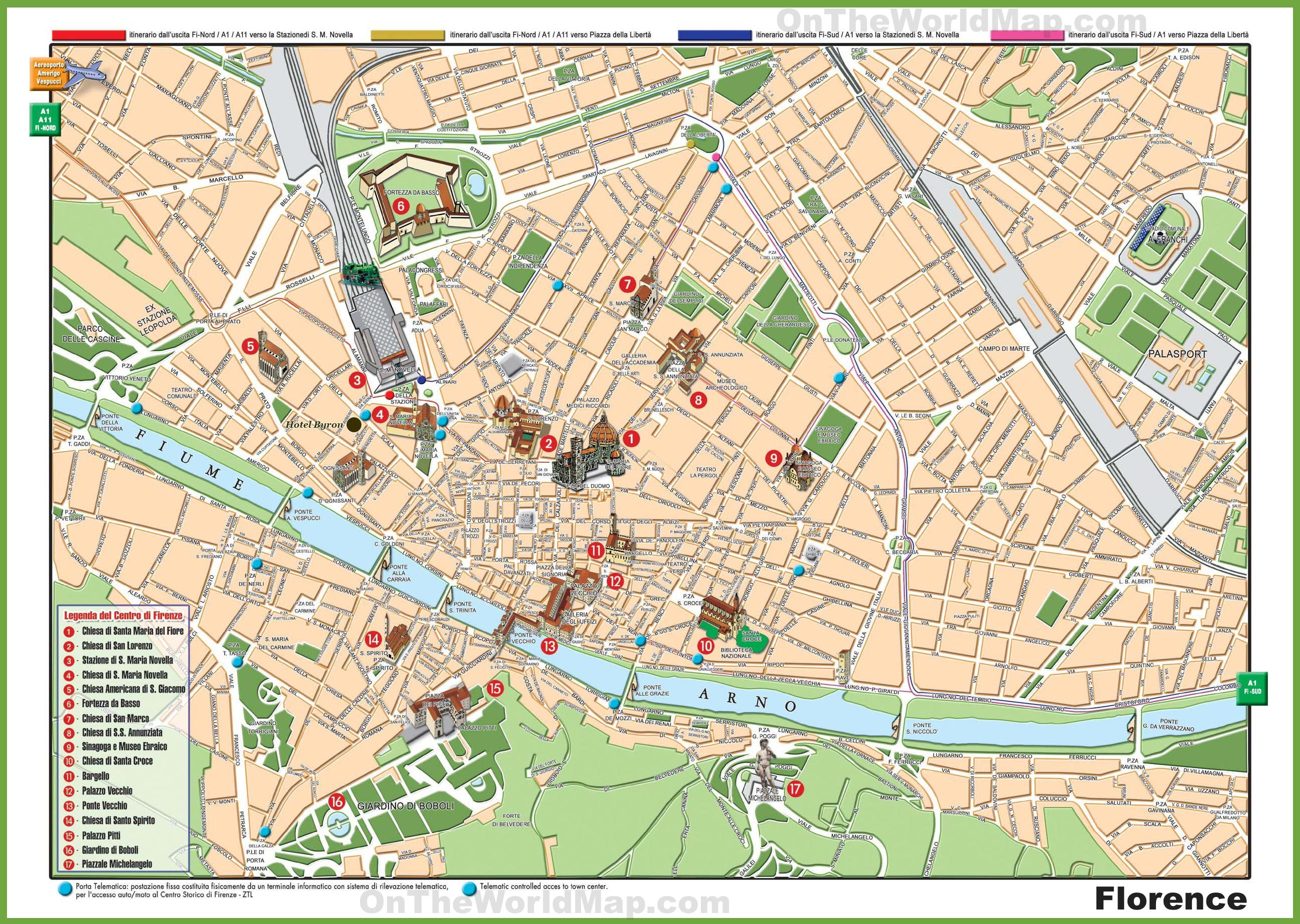 Florence Maps Italy – Florence Tourist Attractions Map