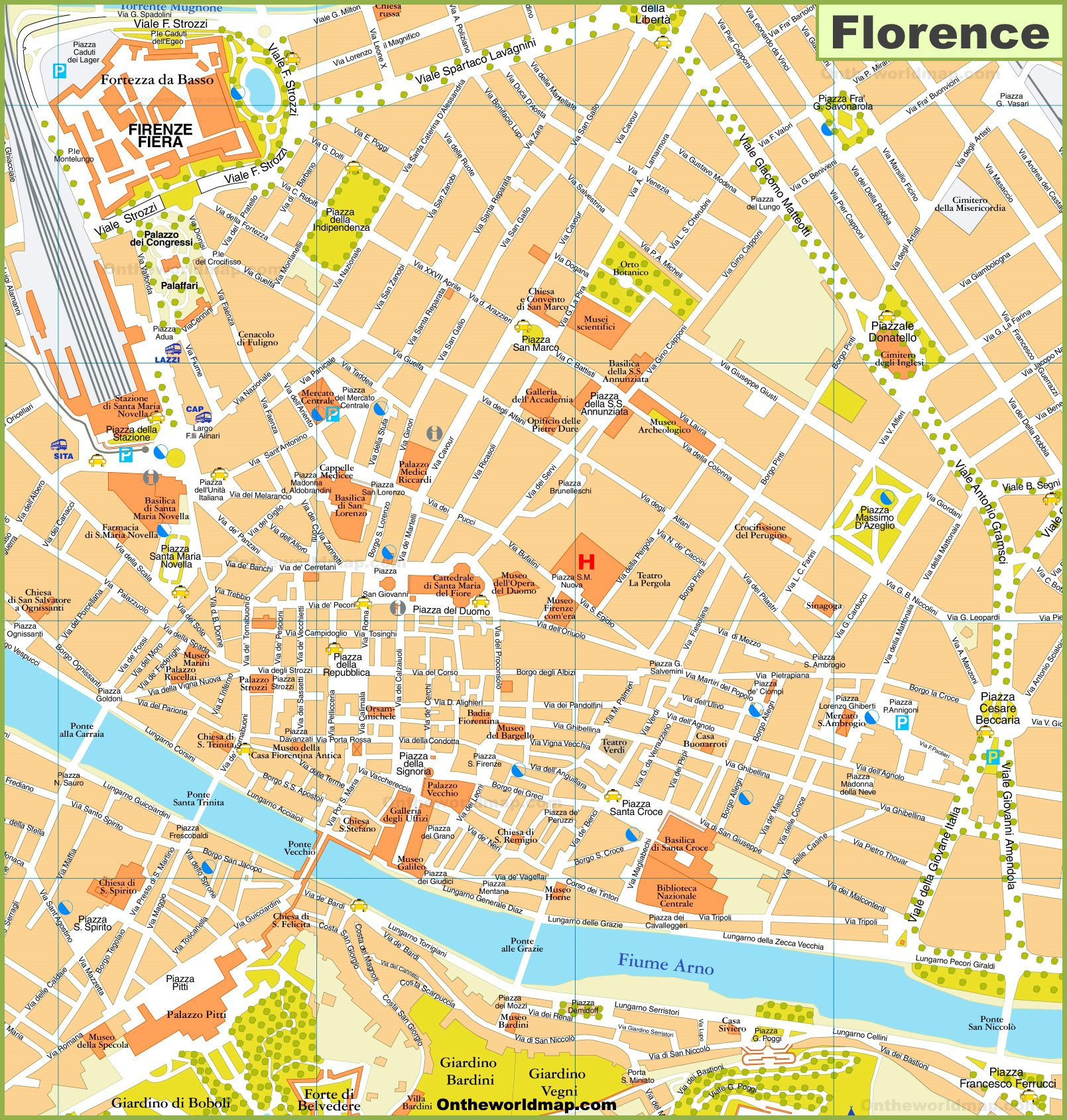 Italian Florence: Walking Map Of Florence