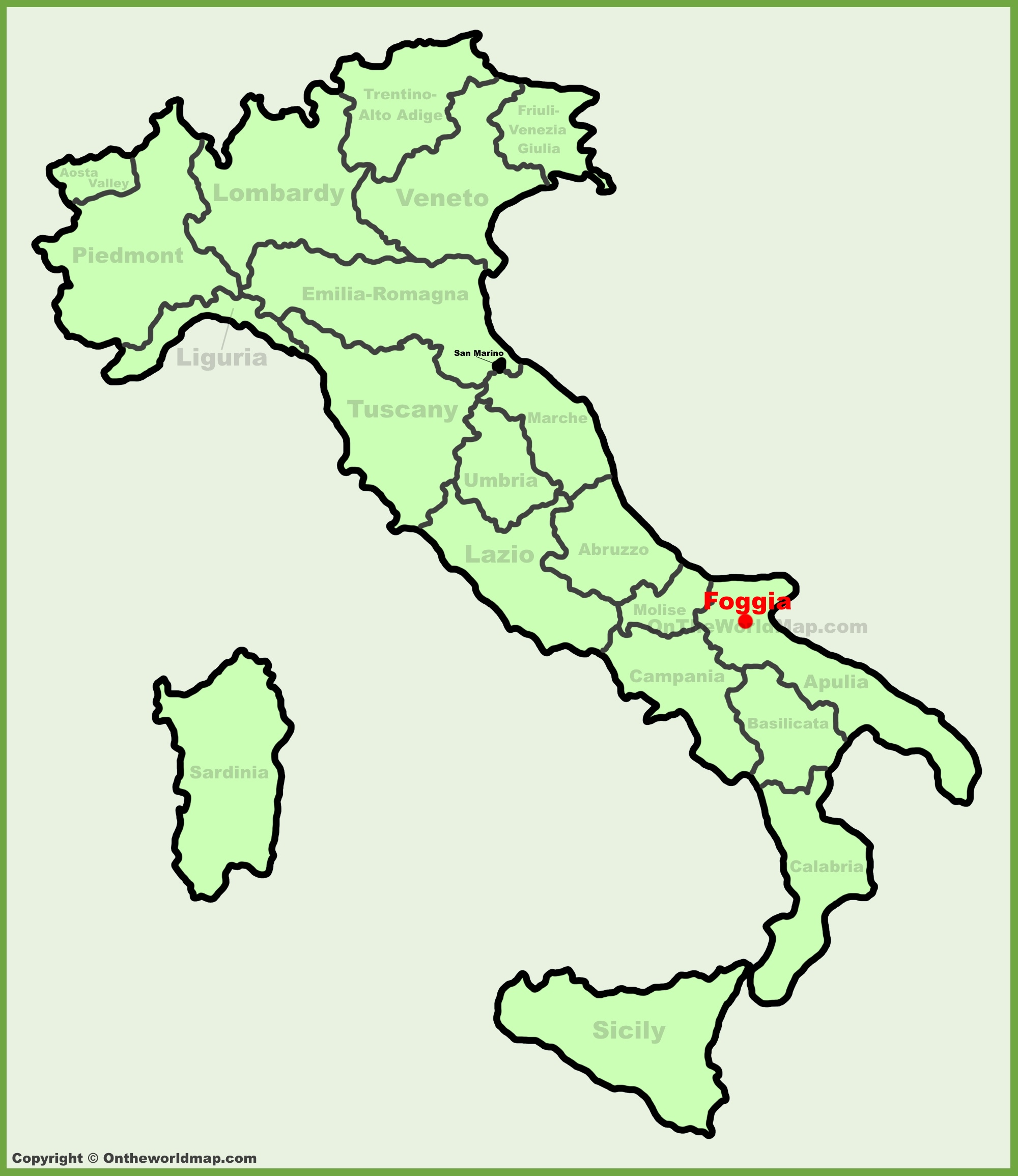 Foggia location on the Italy map