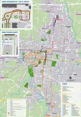 Forlì Transport And Attractions Map