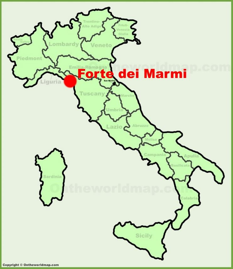 Forte dei Marmi location on the Italy map
