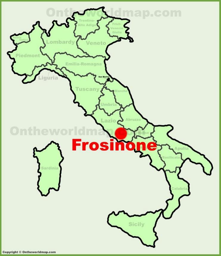 Frosinone location on the Italy map