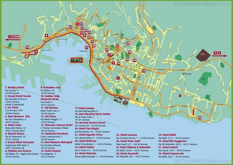 Genoa Hotel Map