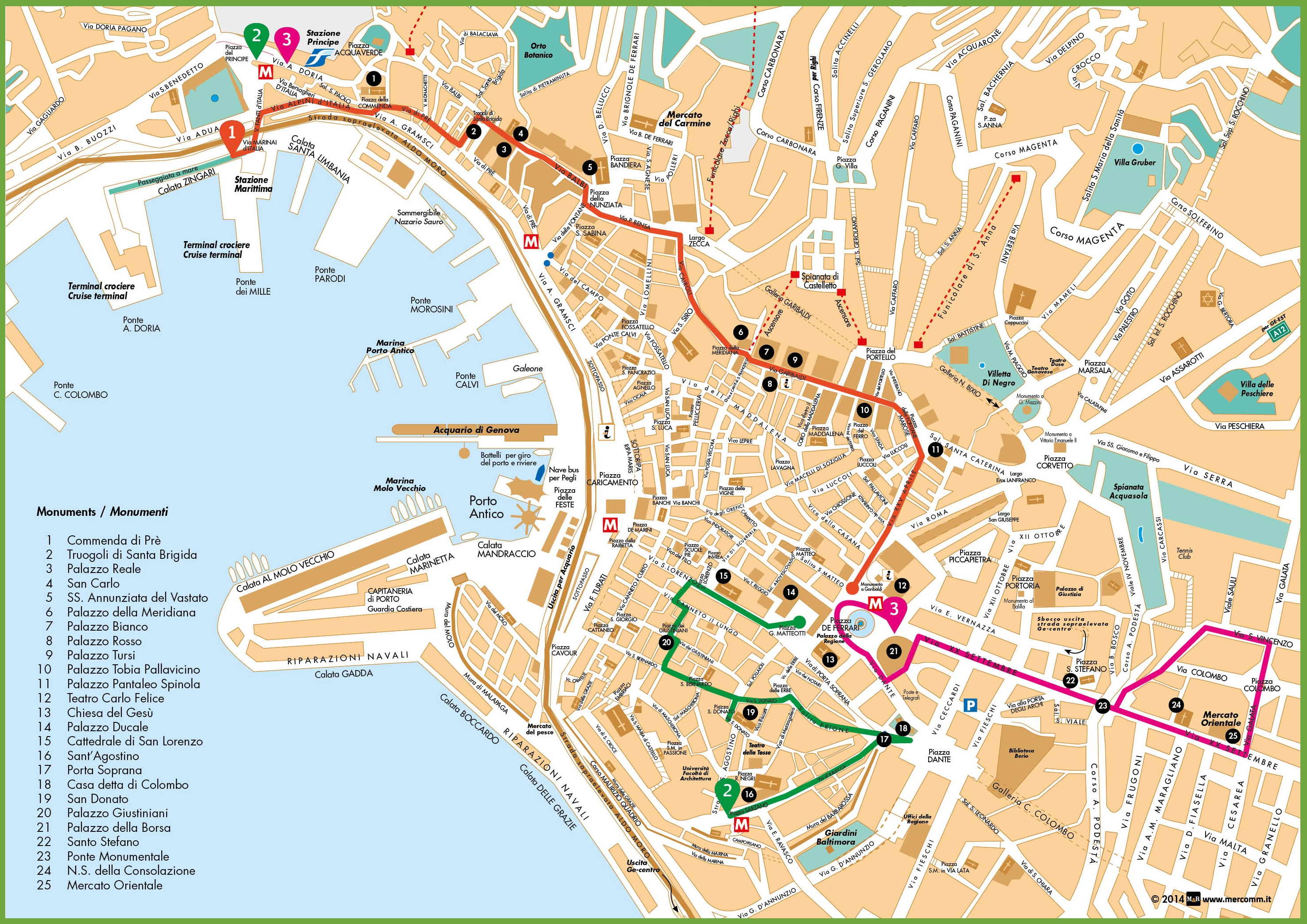 Genoa sightseeing map