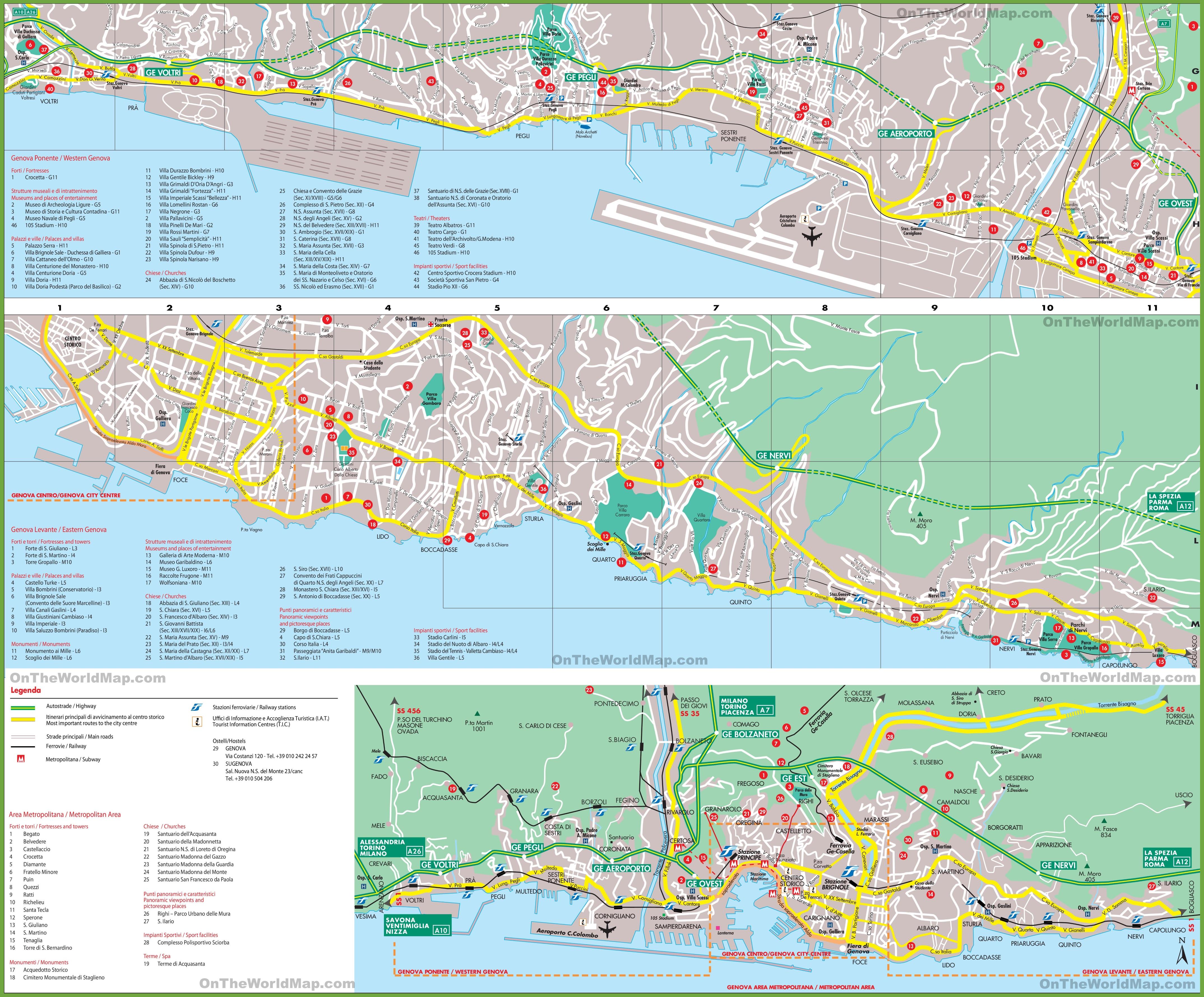 Cartina Barcellona Dettagliata.Grande Mappa Turistica Dettagliata Di Genova