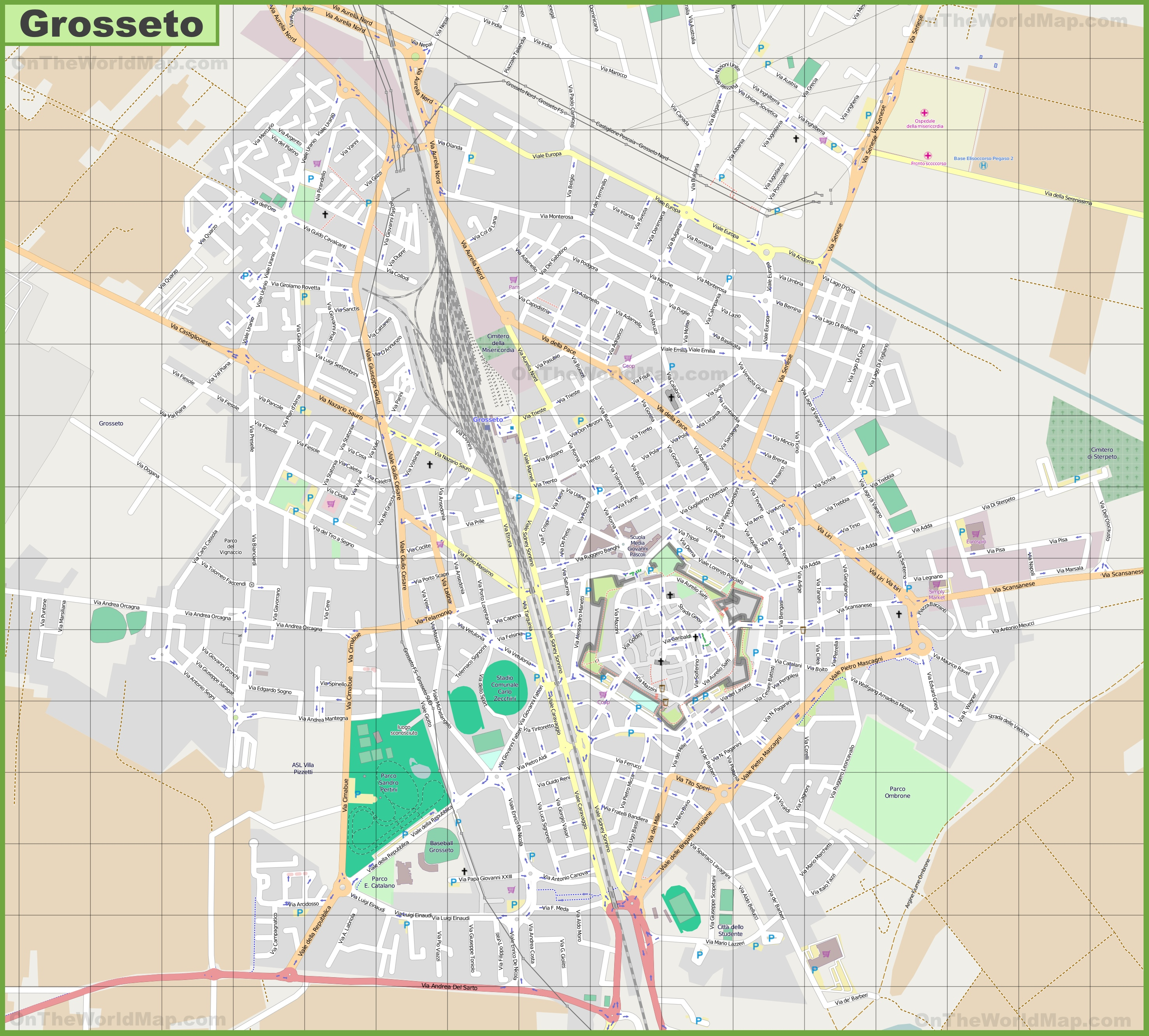 Large detailed map of Grosseto