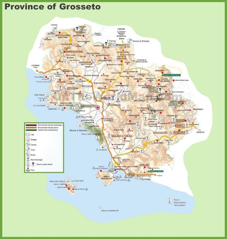 Province of Grosseto tourist map