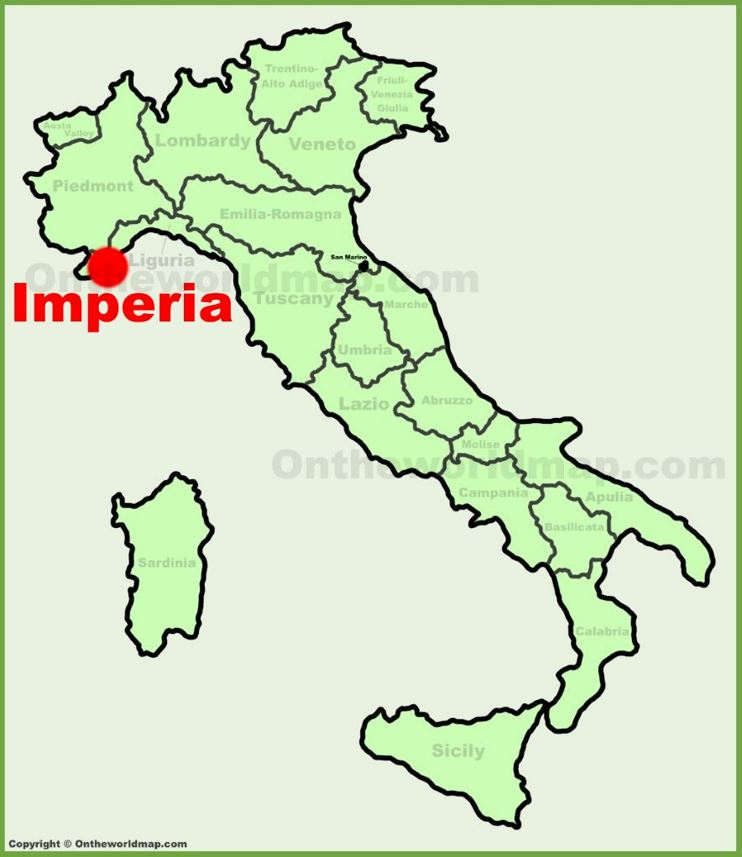 Imperia location on the Italy map