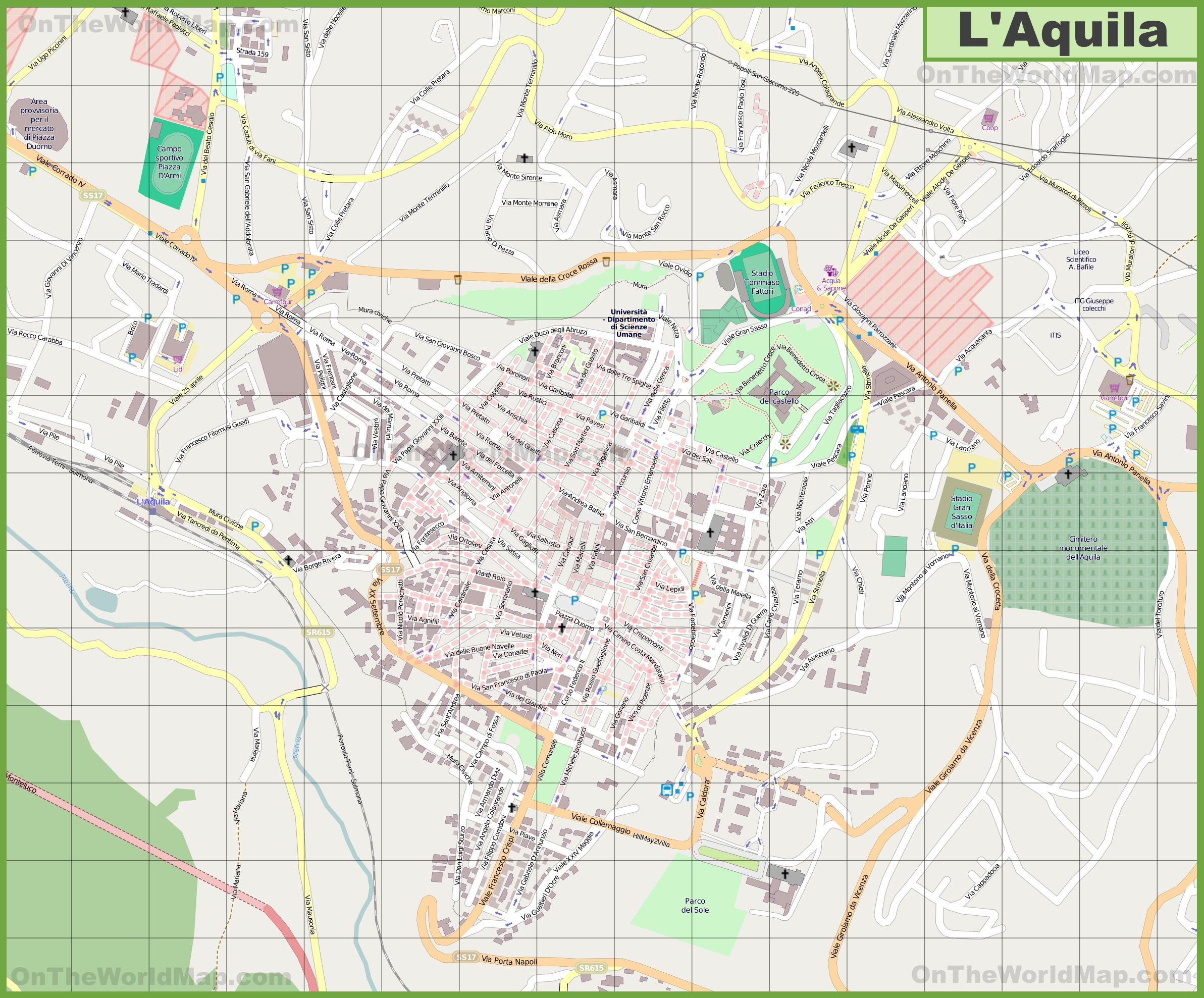 Large detailed map of LAquila