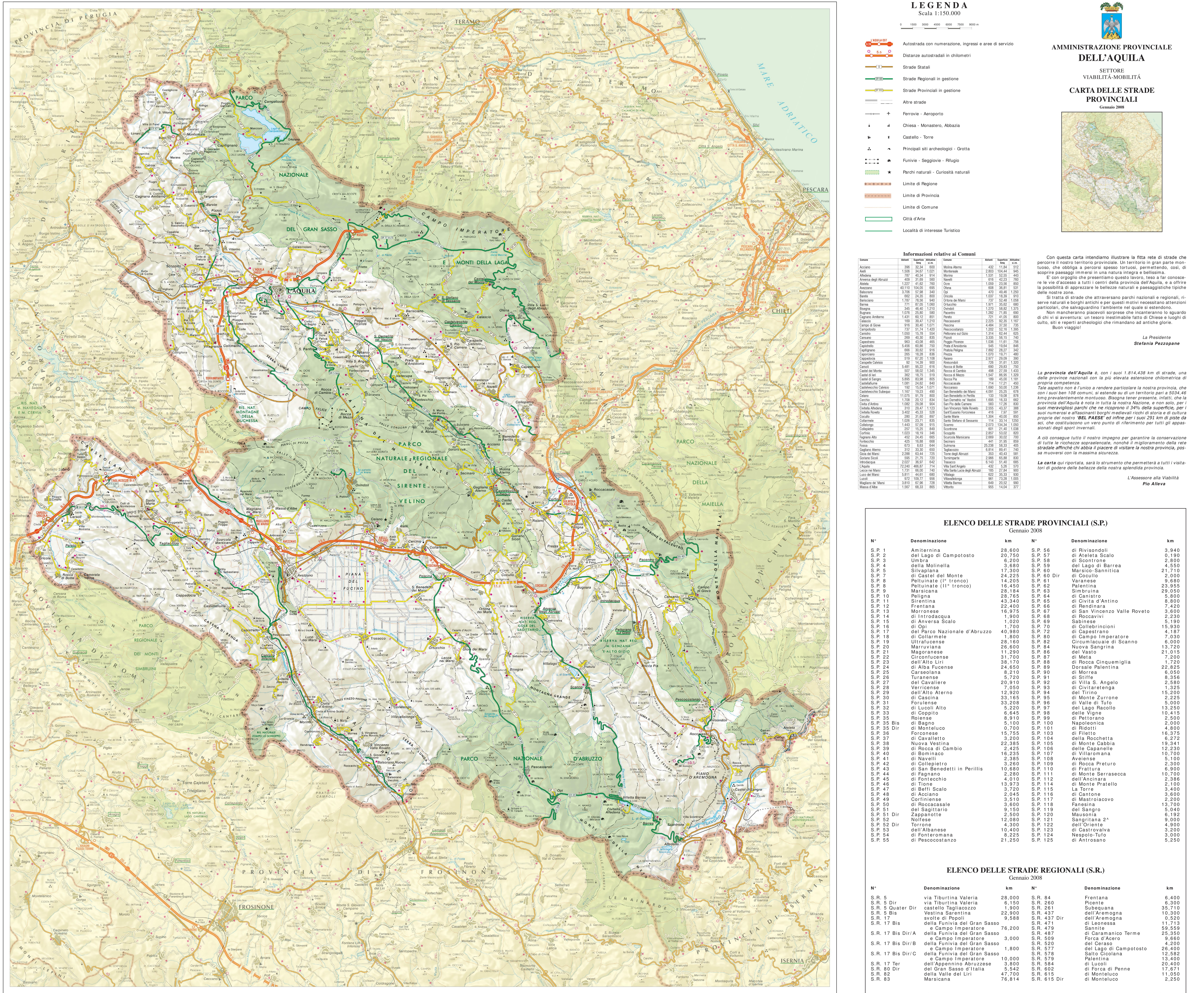 Province of LAquila tourist map