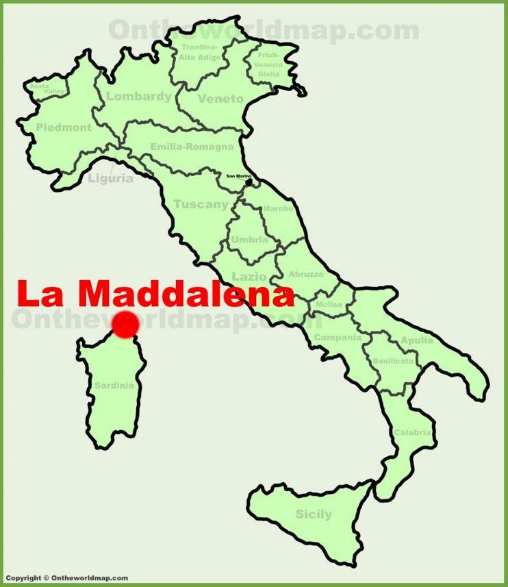 La Maddalena location on the Italy map