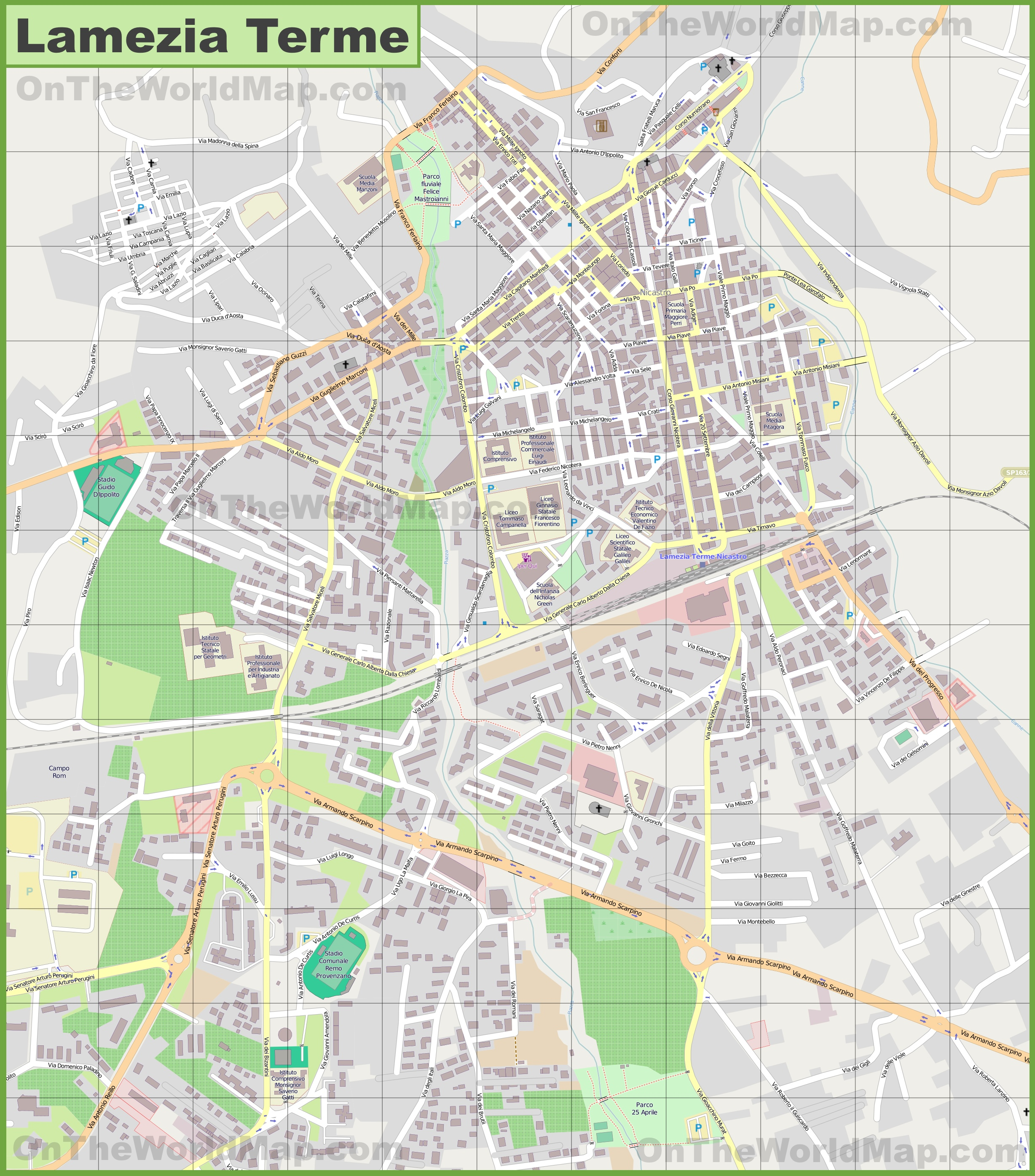 Large detailed map of Lamezia Terme