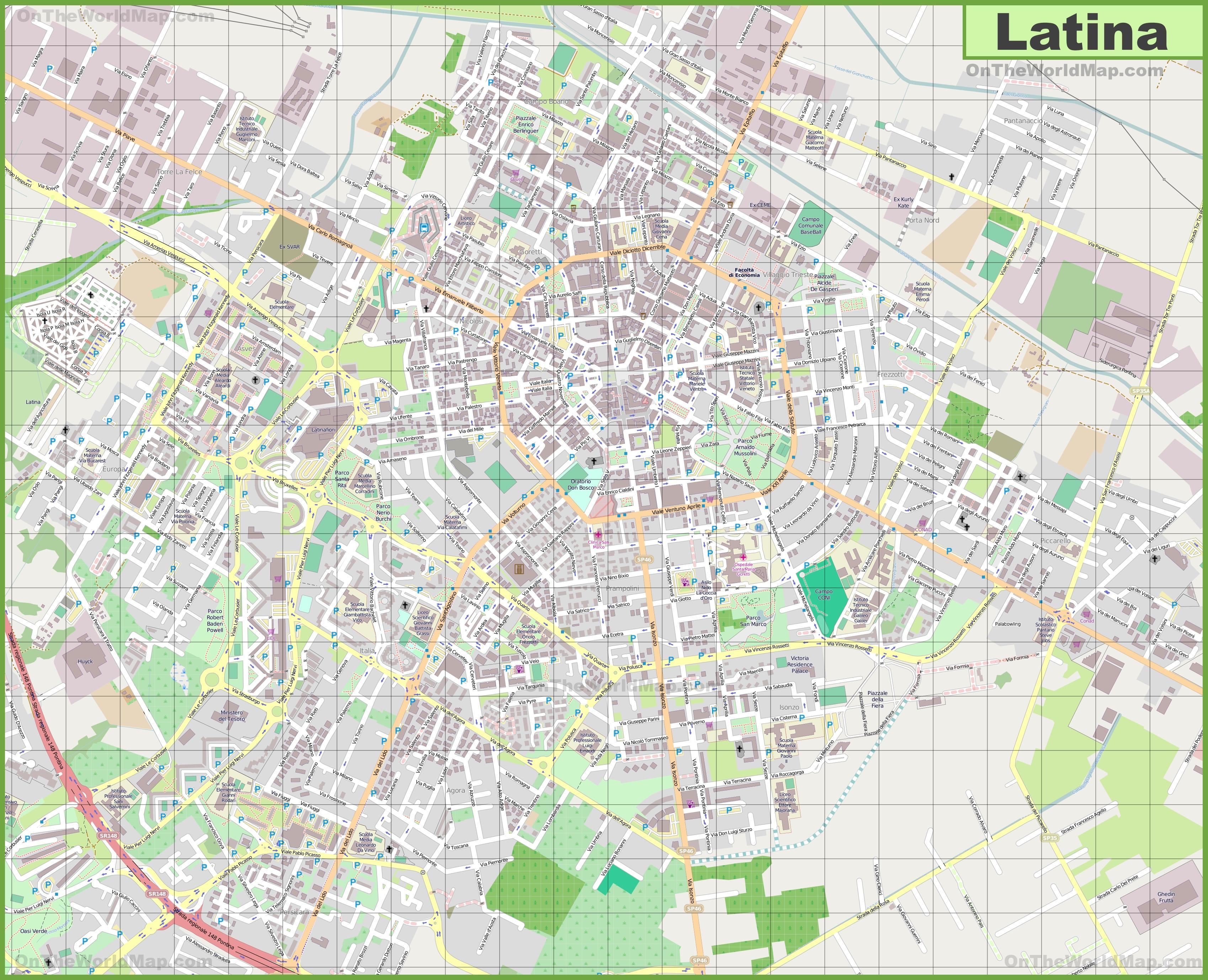 Large detailed map of Latina