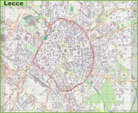 Large detailed map of Lecce