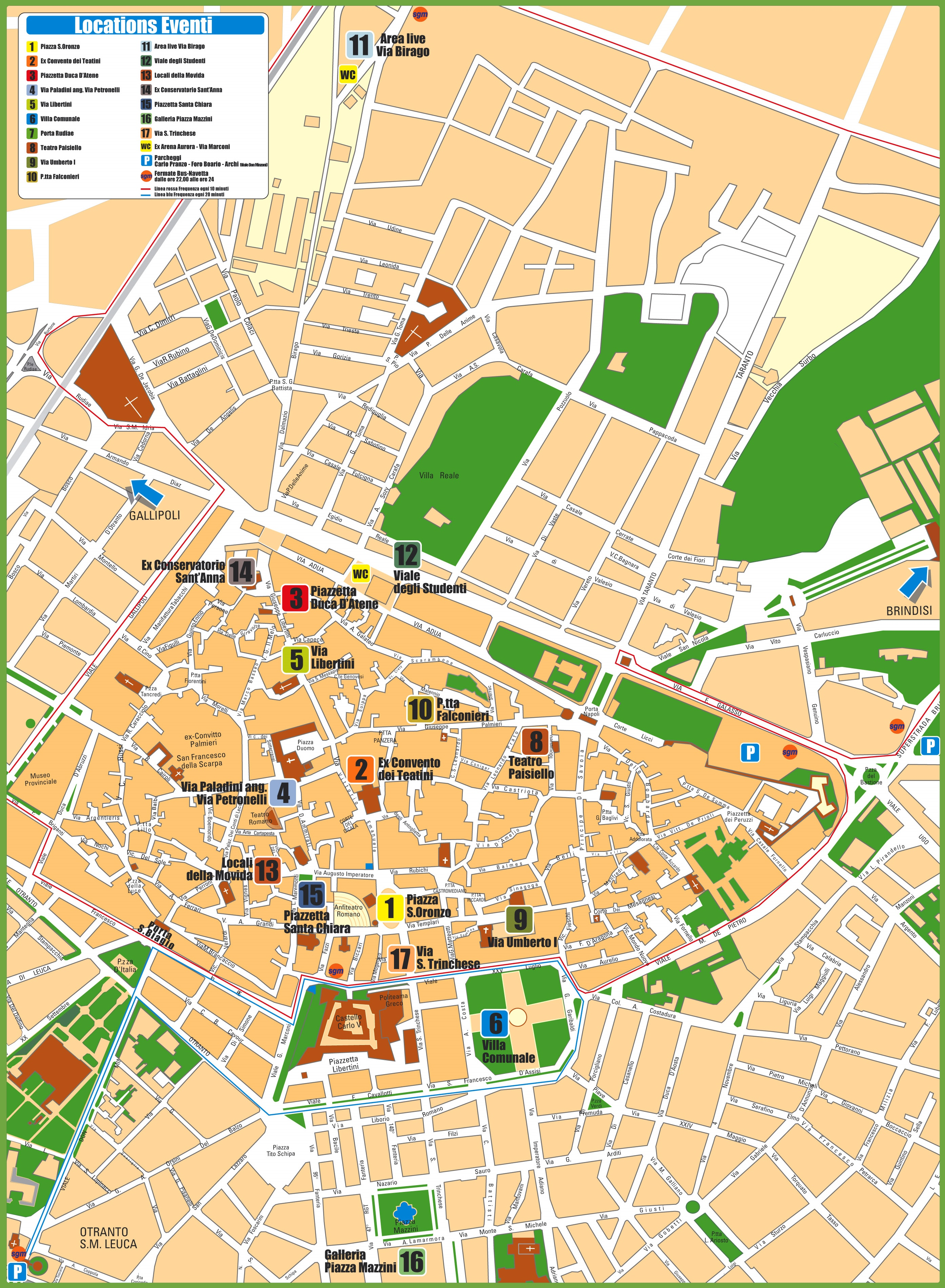 Lecce tourist attractions map