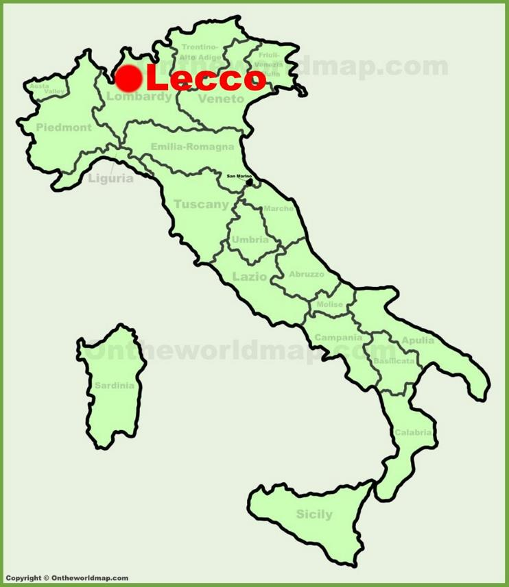 Lecco location on the Italy map