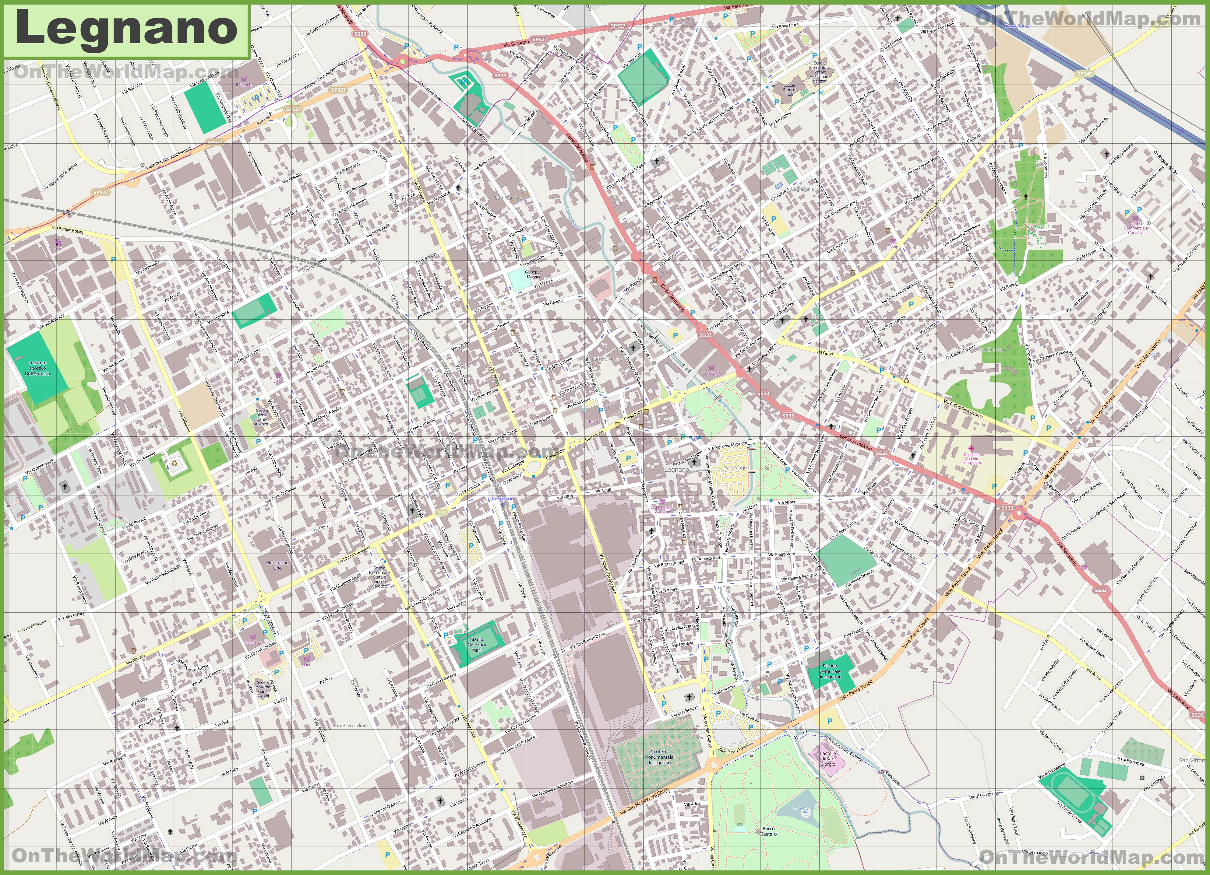 Large detailed map of Legnano