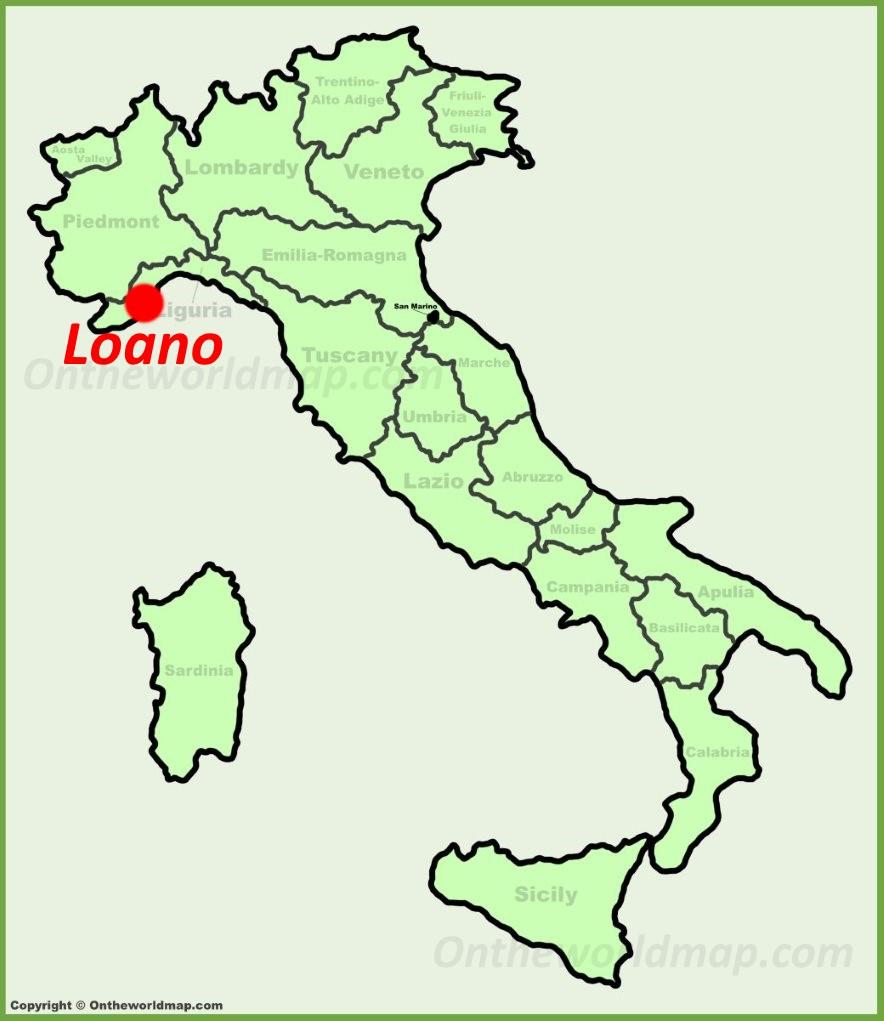 Loano location on the Italy map