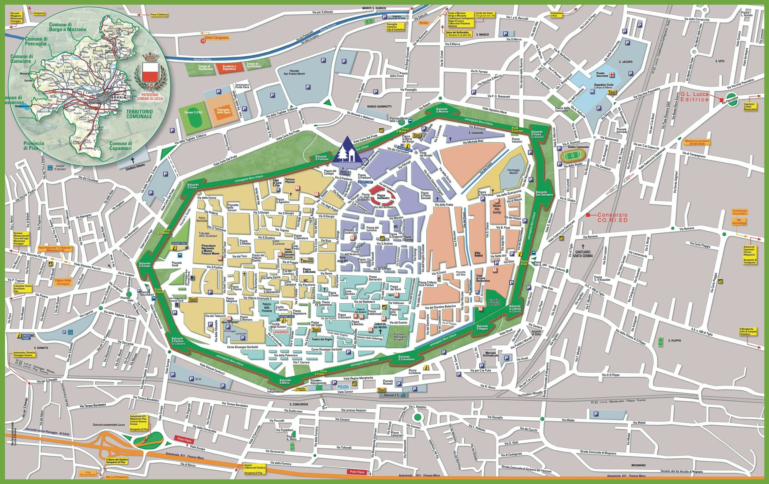 Large detailed tourist map of Lucca