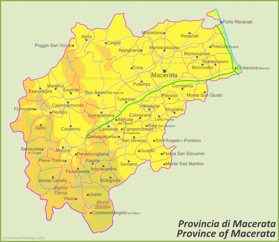 Marche Cartina Province.Province Of Macerata Map