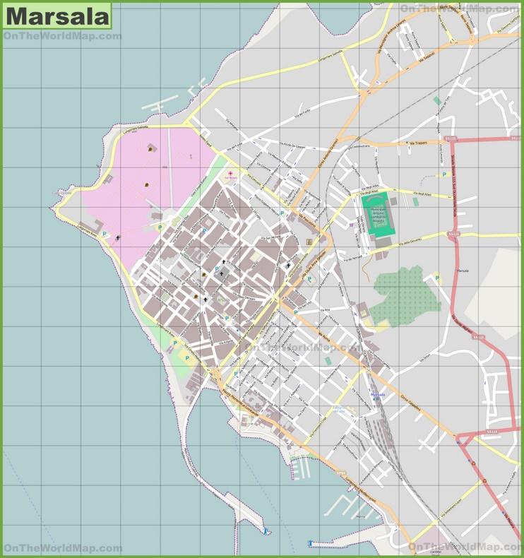 Large detailed map of Marsala
