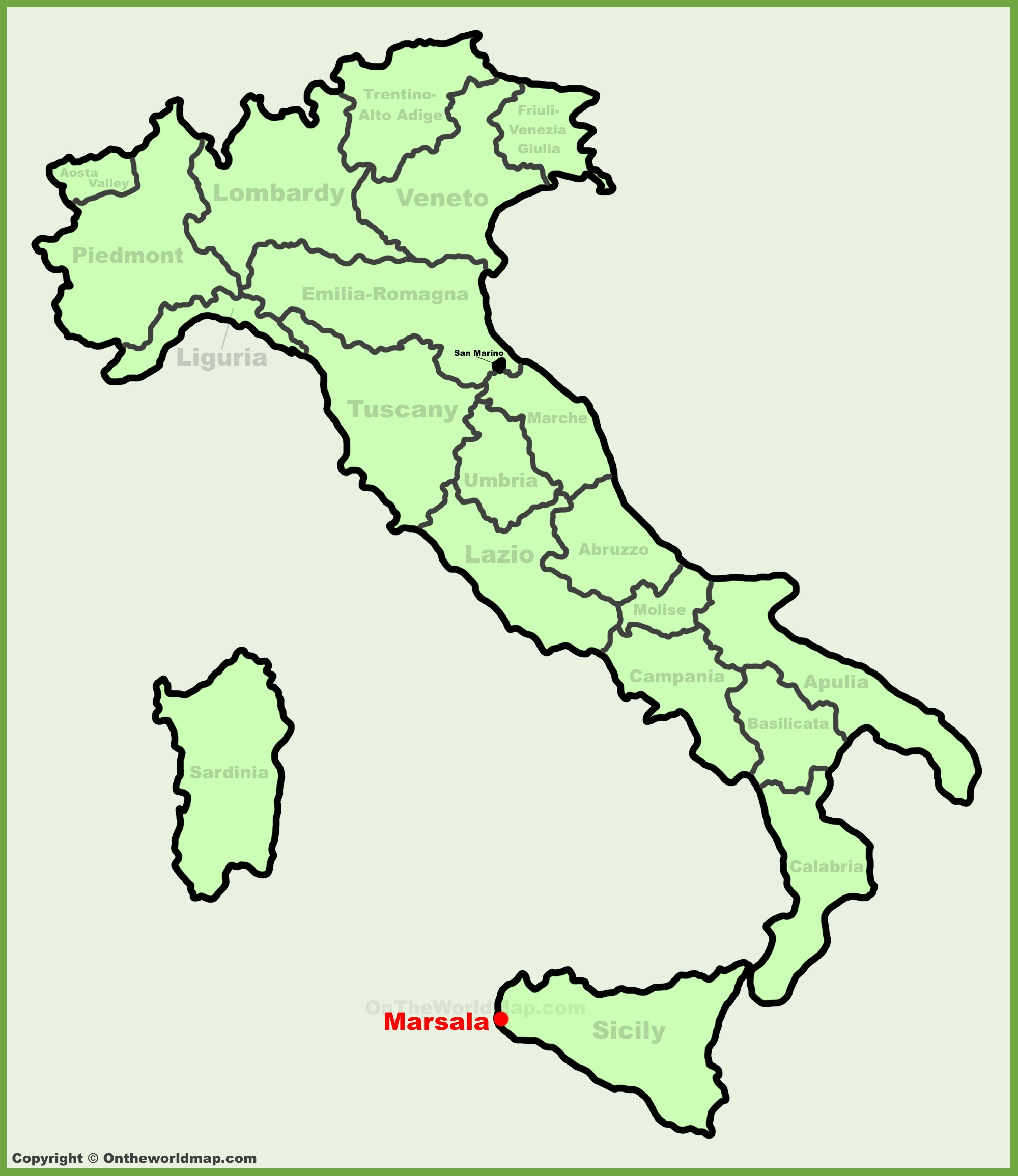 Marsala location on the Italy map