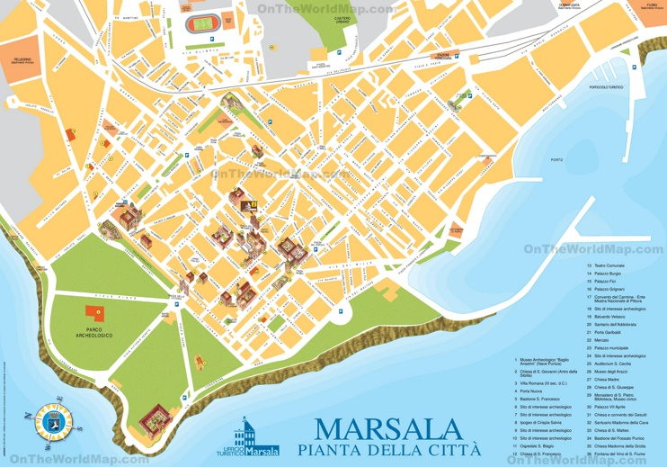 Marsala sightseeing map