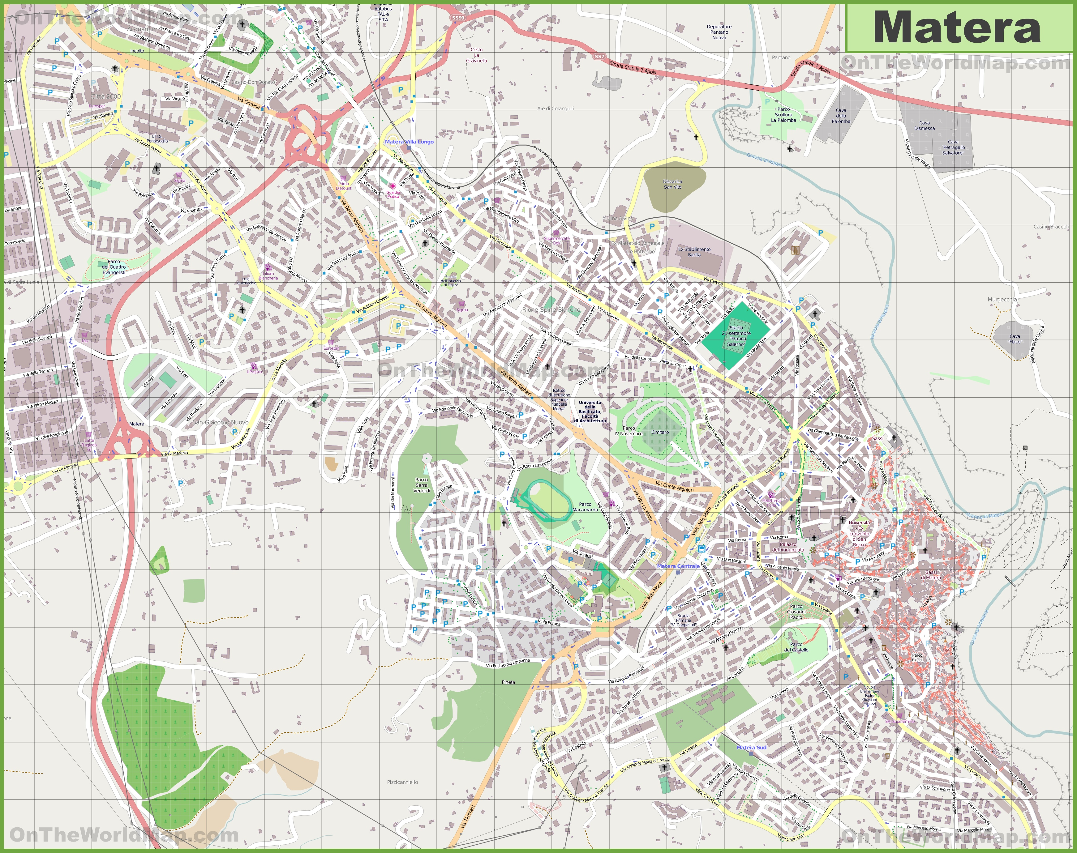 Large detailed map of Matera