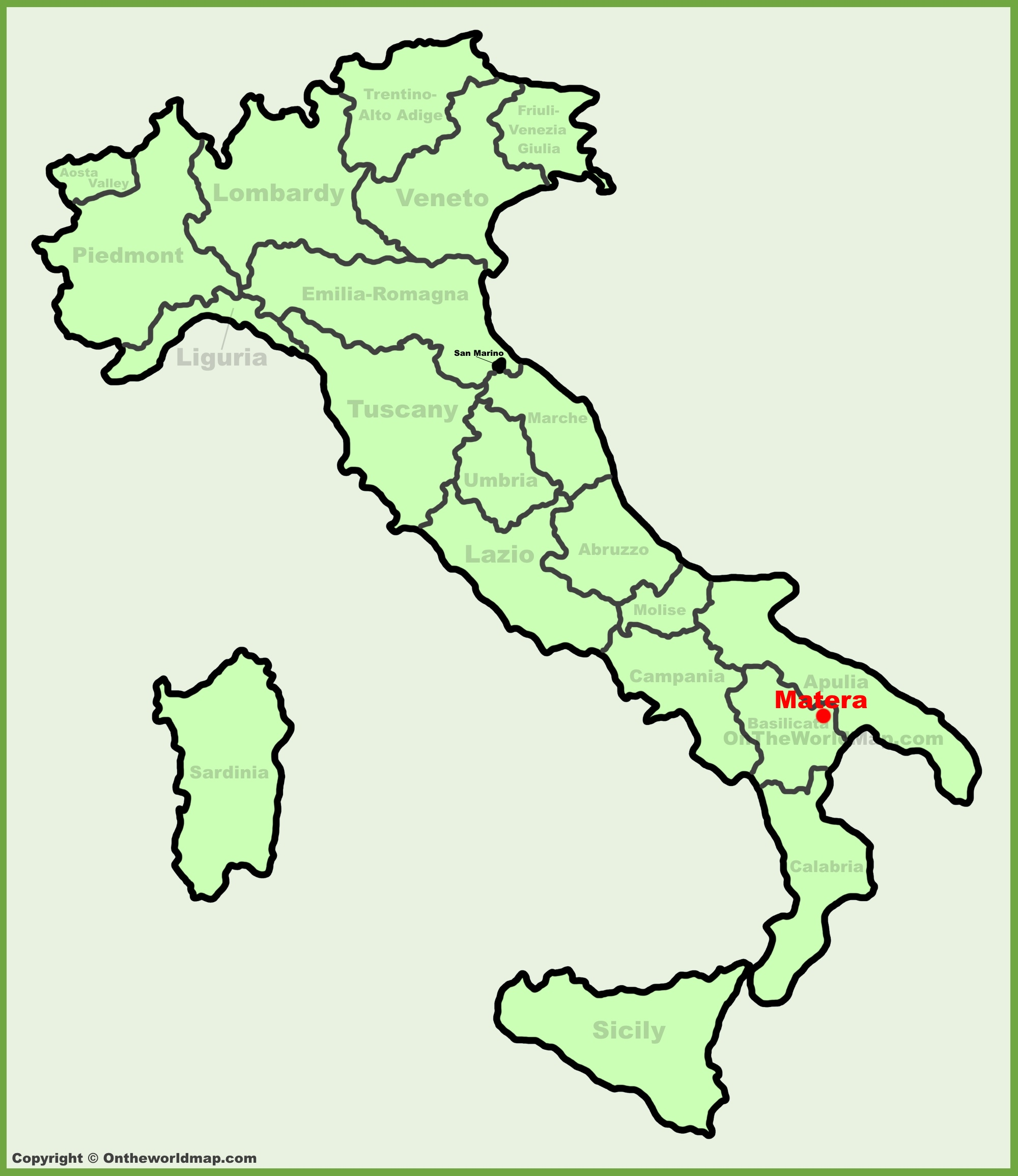 Matera location on the Italy map