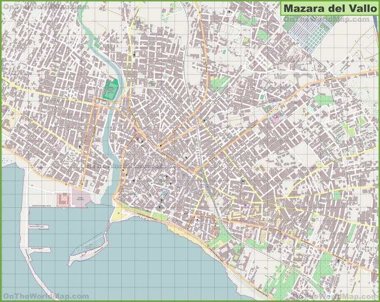 Large detailed map of Mazara del Vallo