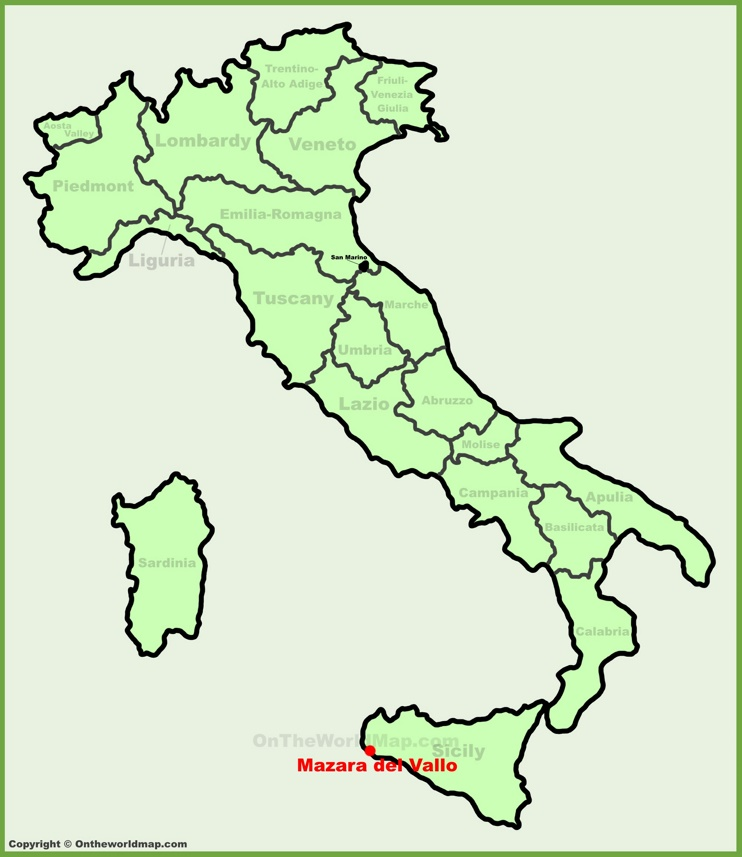 Mazara del Vallo location on the Italy map
