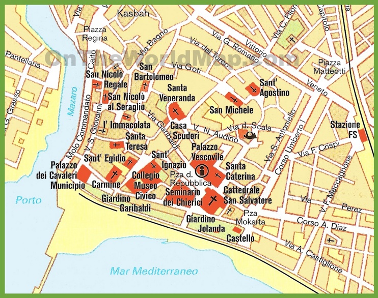 Mazara del Vallo tourist map