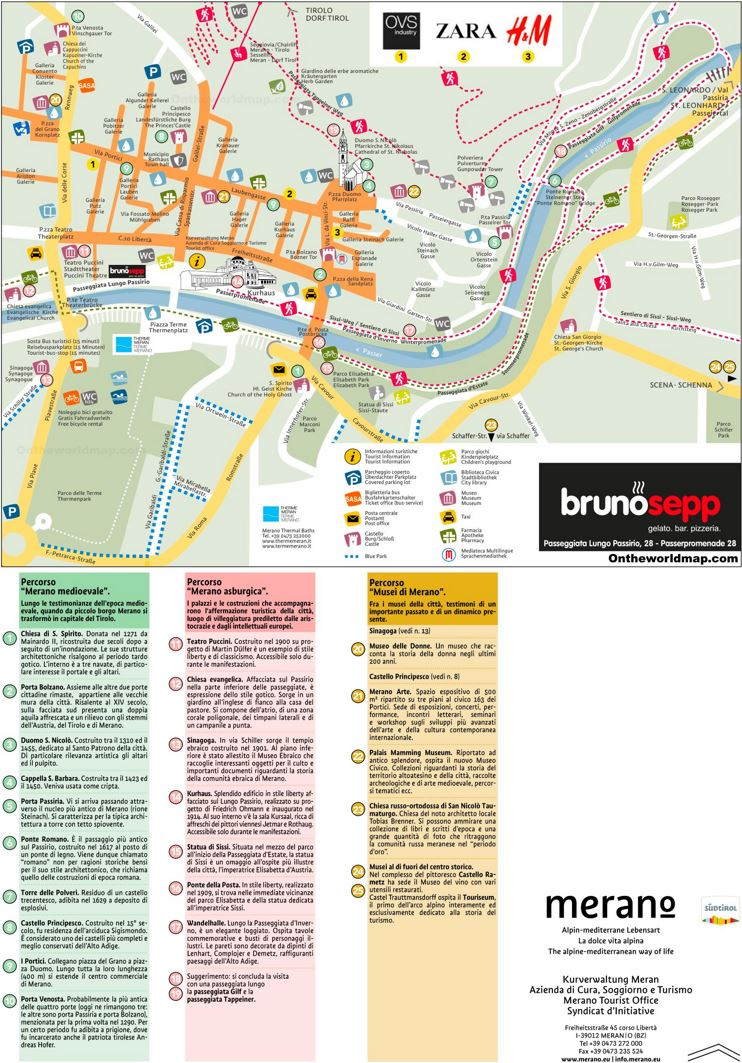 Merano Sightseeing Map
