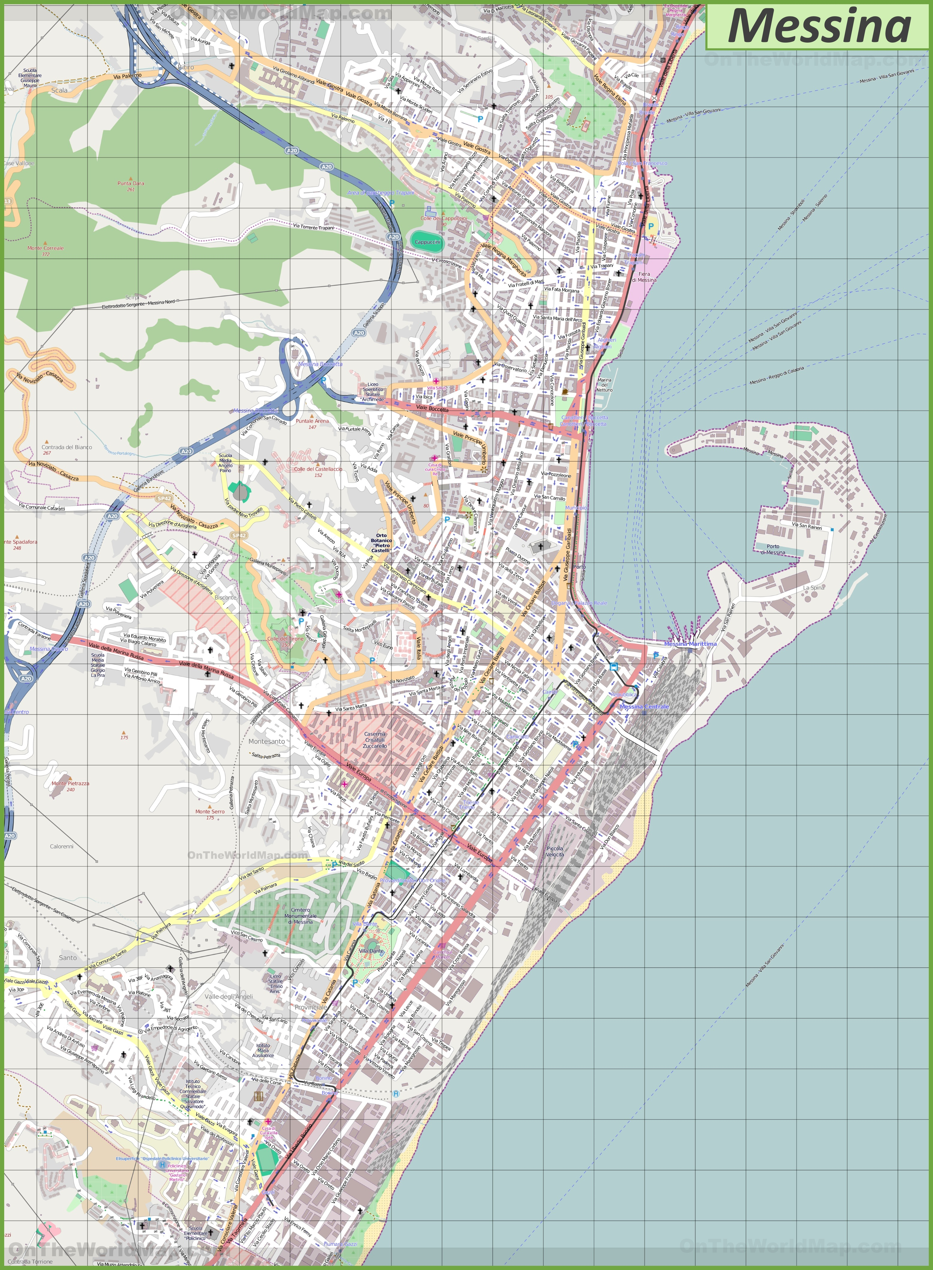 Large detailed map of Messina