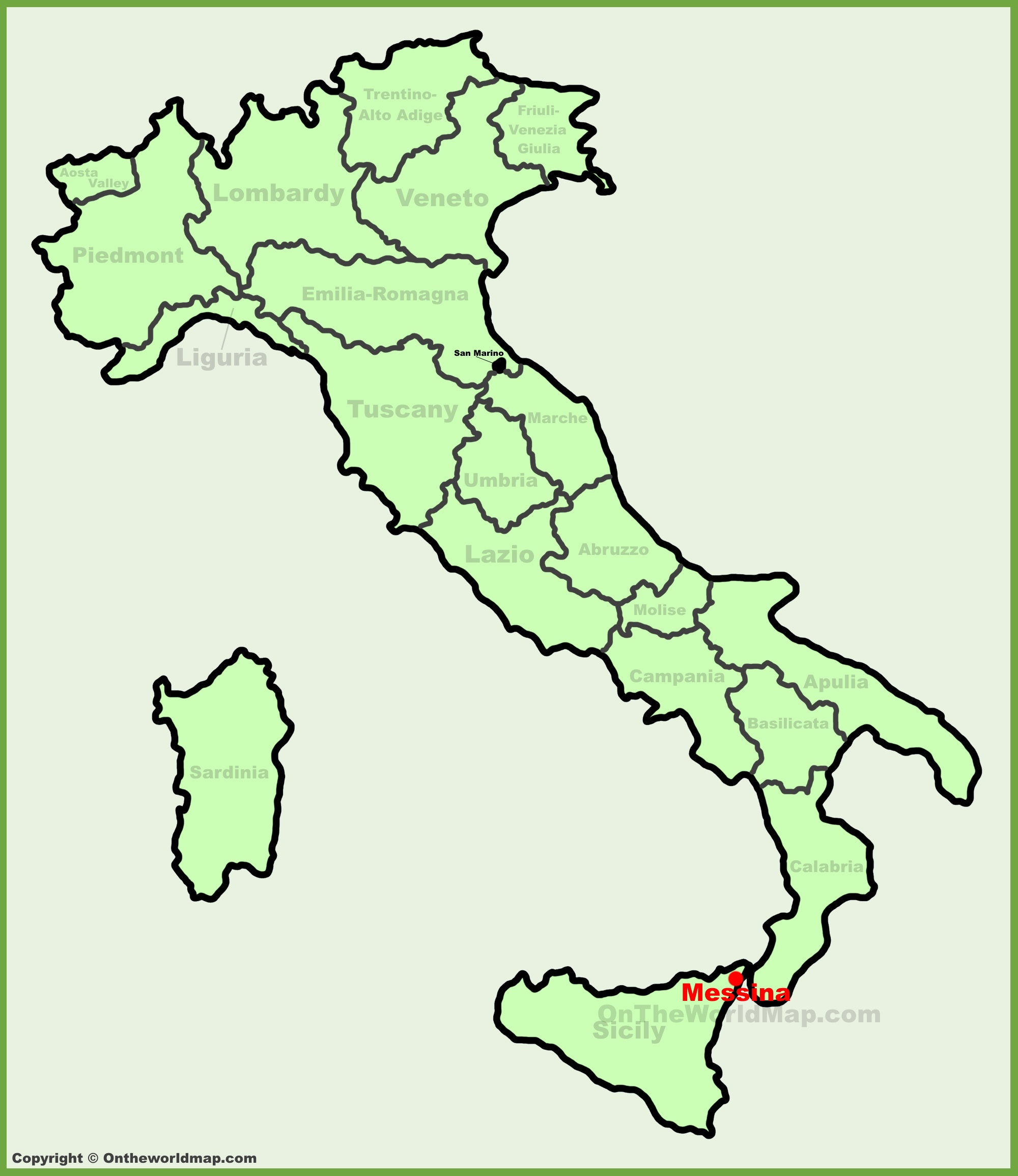 Messina location on the Italy map