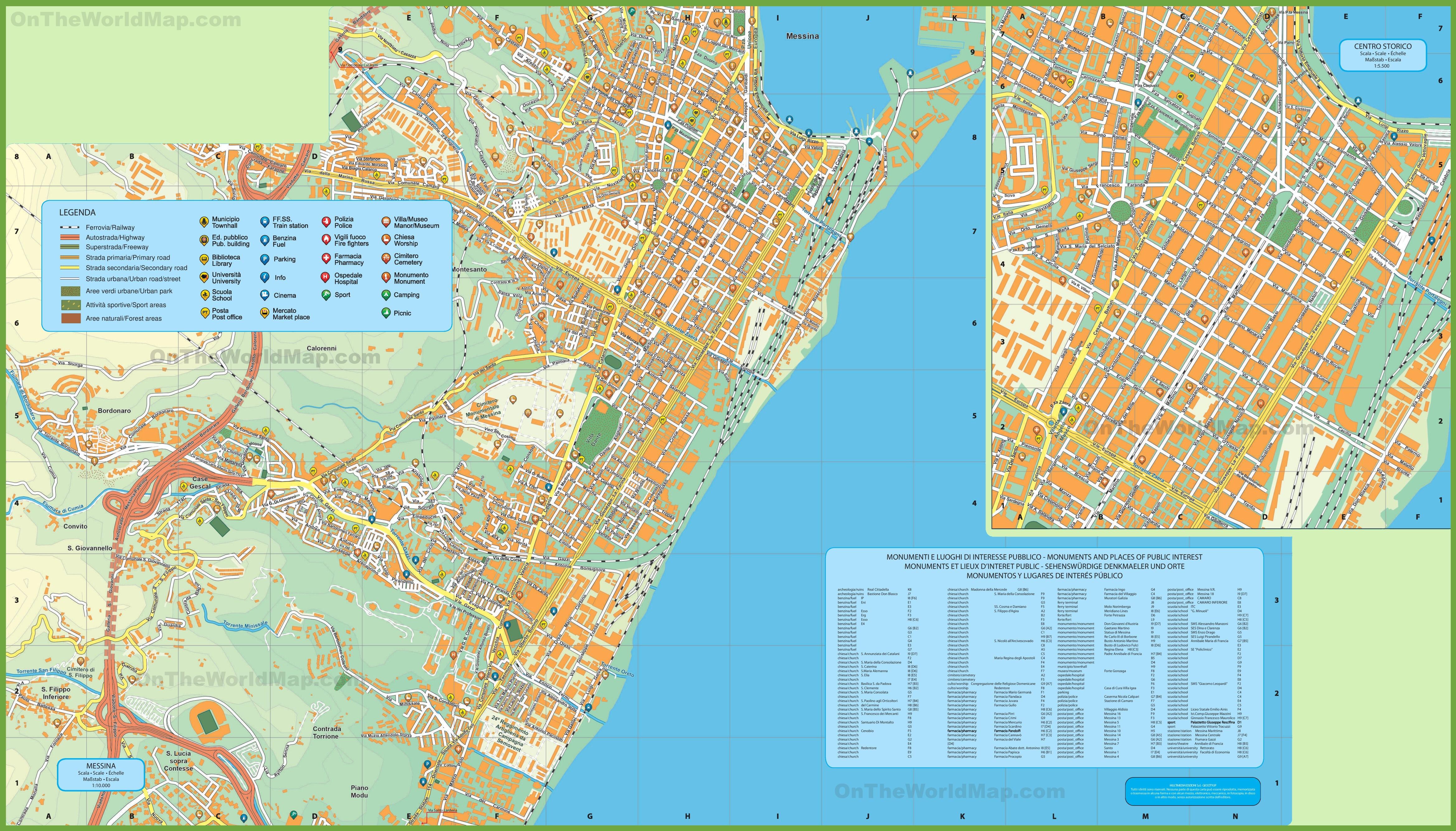 Messina tourist map