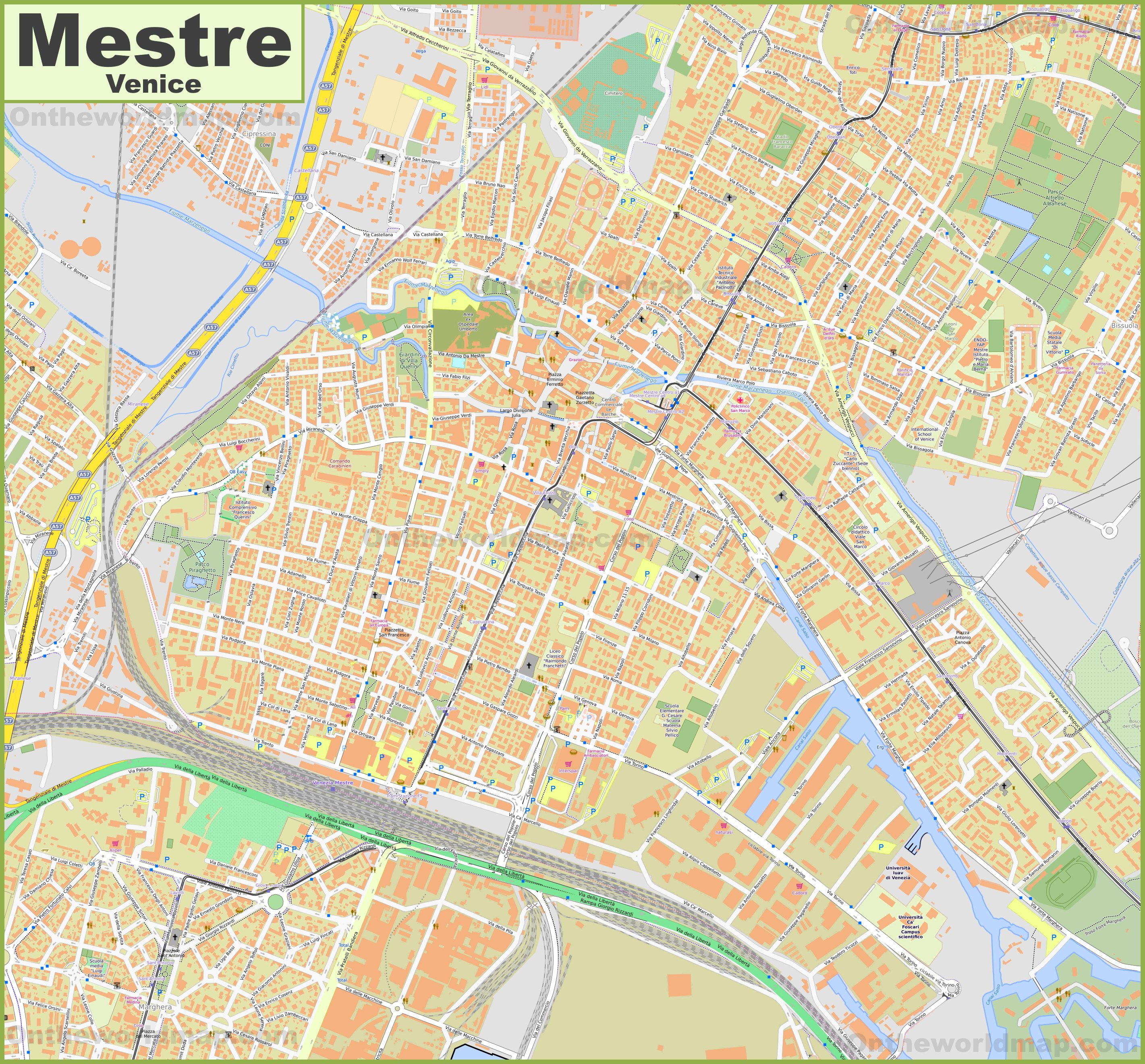 Large detailed map of Mestre