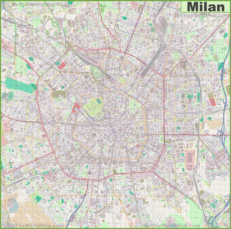 Large detailed map of Milan