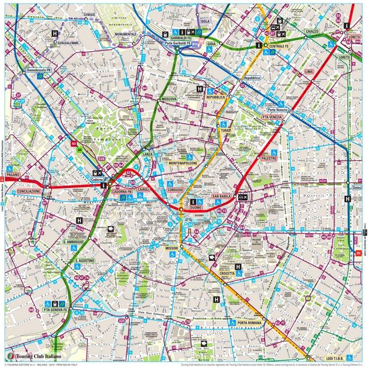 Large detailed tourist map of Milan