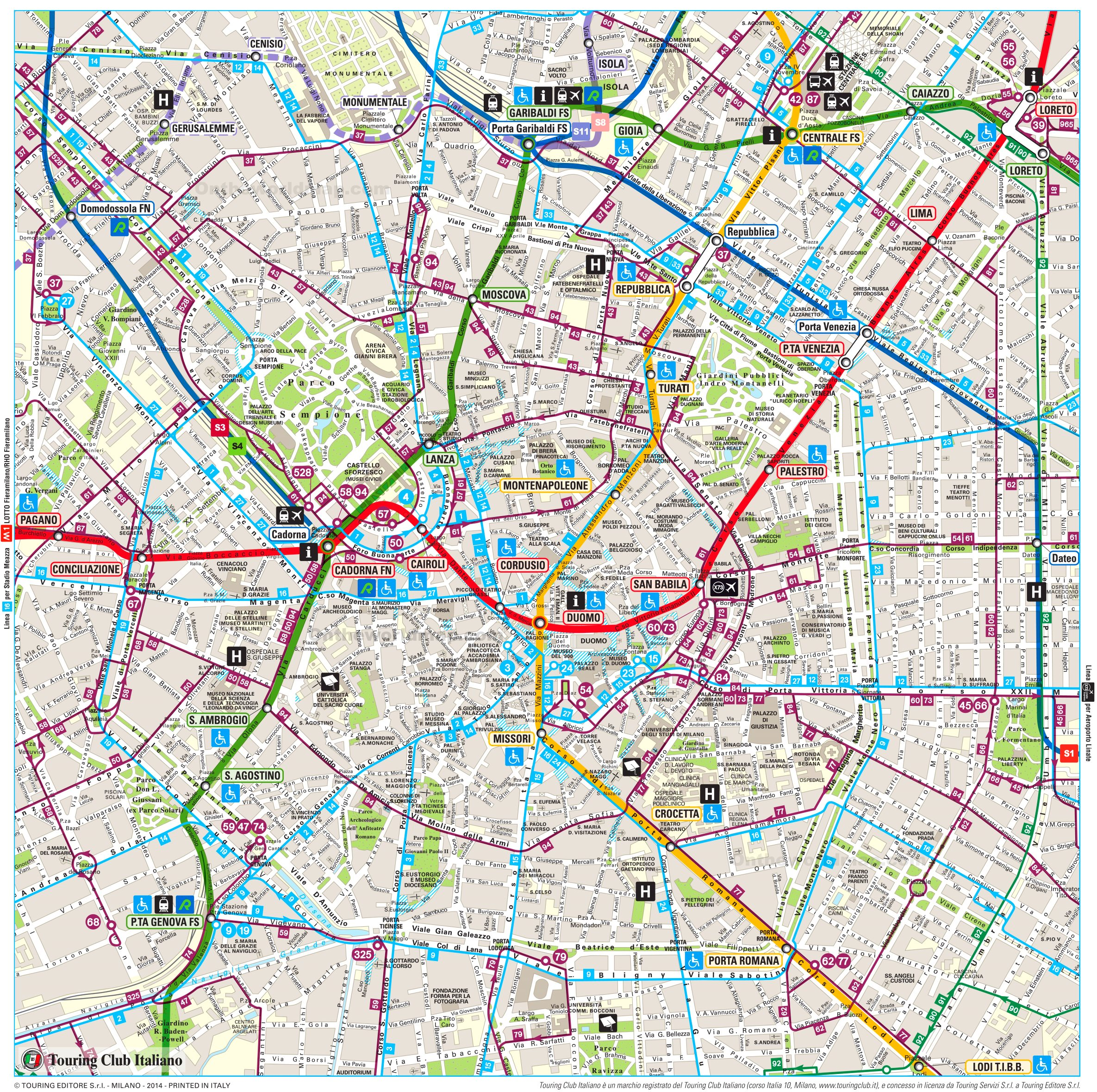 Map Of Milan Tourist map of Milan with metro and tram