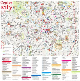 Map of Milan City Center with sightseeings