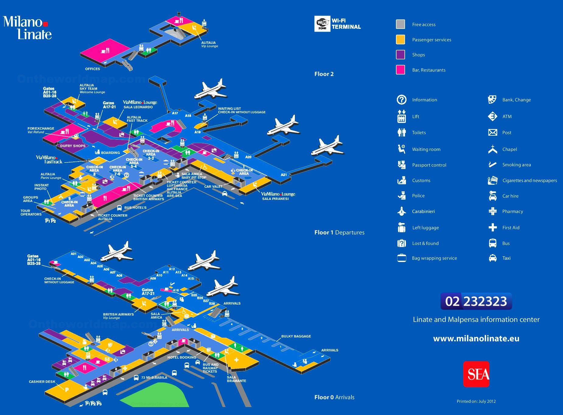 Milan Linate Airport Map
