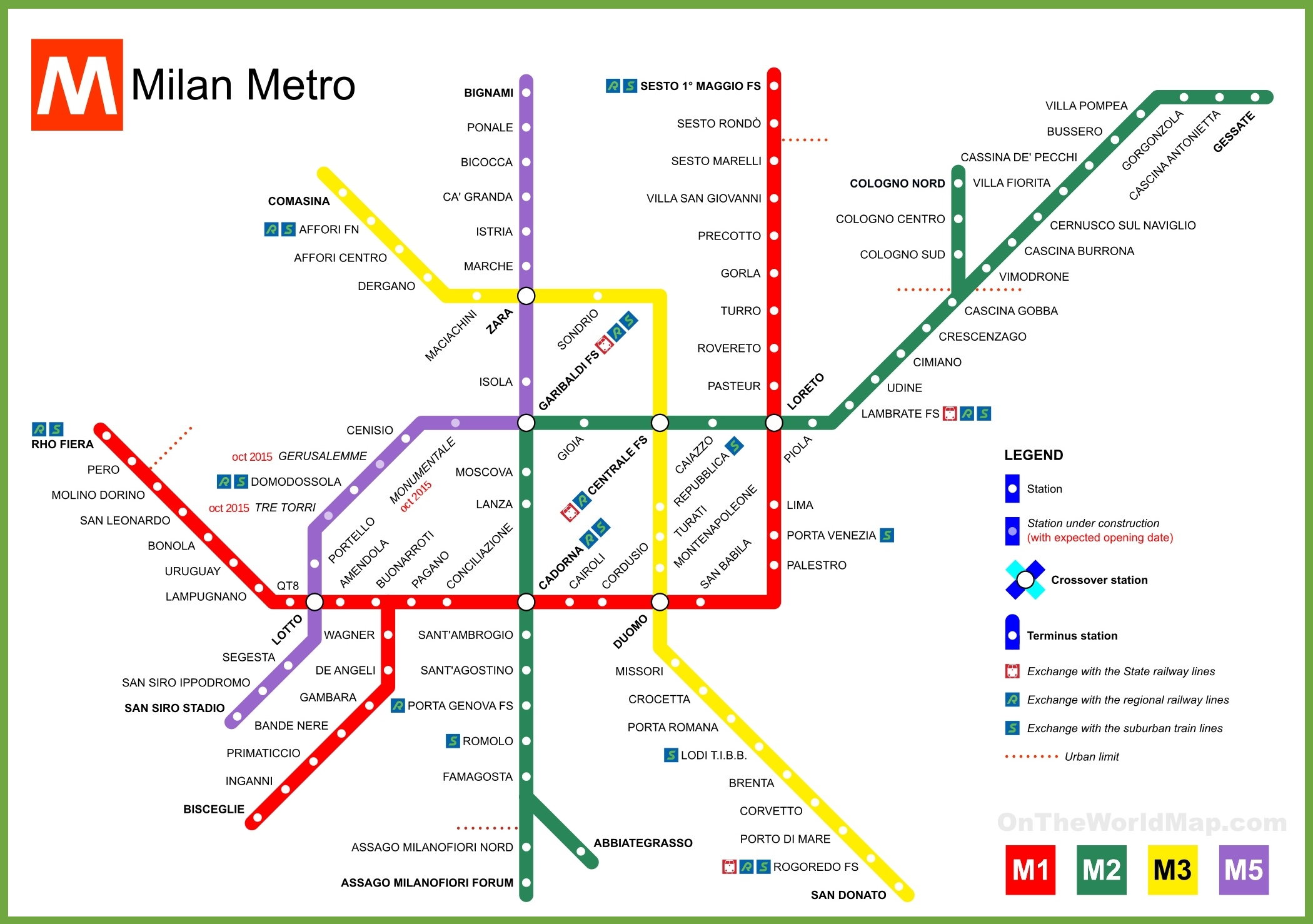 Printable Metro Map.Milan Metro Map