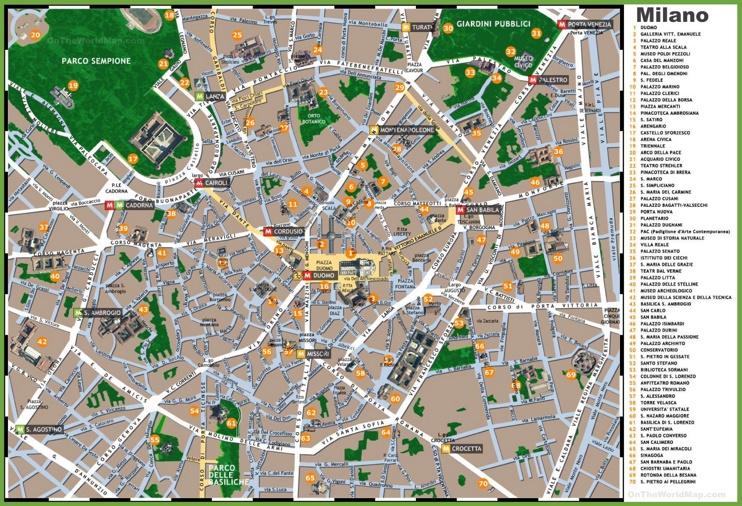 Milan sightseeing map