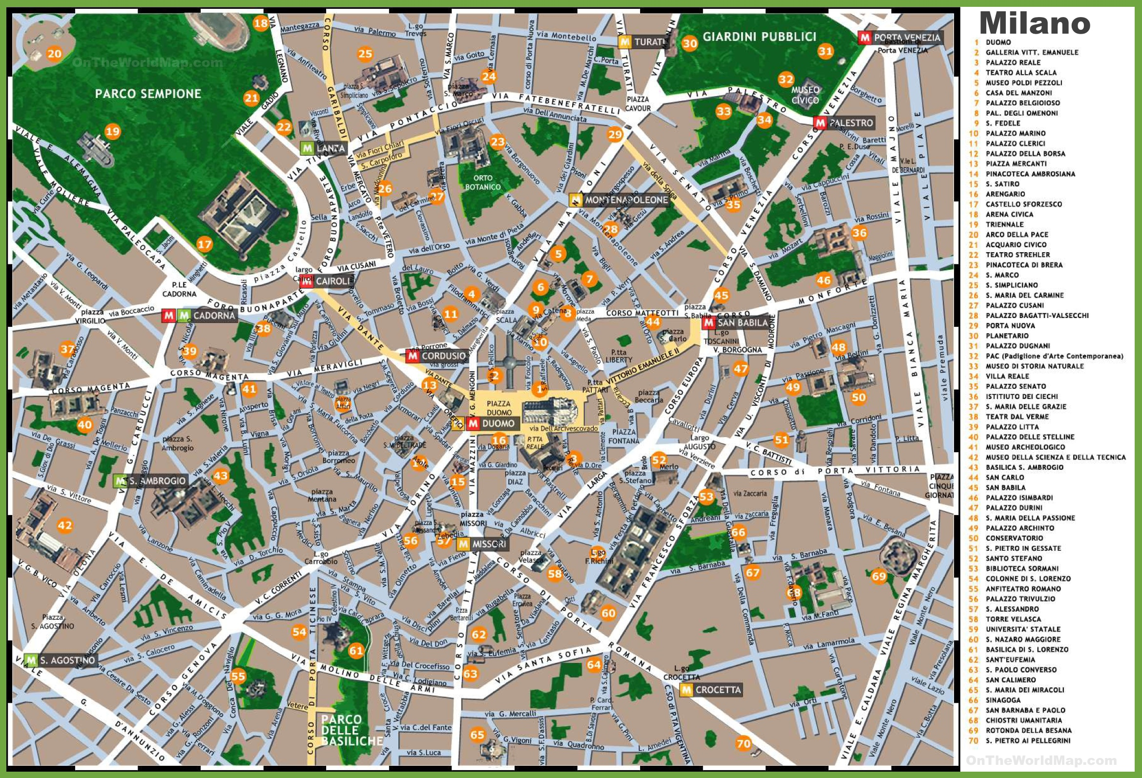 Milan sightseeing map milan sightseeing map gumiabroncs Images