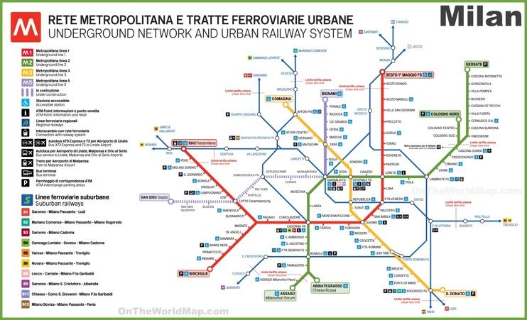 Milan transport map